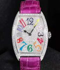 Natural Diamond FRANCK MULLER 2852 43×31mm Purple-Color Full Diamond Watch