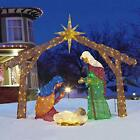 Large 69 W x 57 Fabric Mesh LED Lighted Indoor Outdoor Nativity Yard Scene