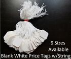 Blank White Merchandise Price Tags W String Retail Jewelry Strung Large Small