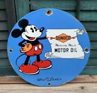 VINTAGE 1933 SUNOCO MOTOR OIL PORCELAIN SIGN, PUMP PLATE, DISNEY, MICKEY MOUSE