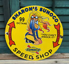 VINTAGE 62' SUNOCO GASOLINE PORCELAIN RACING PINUP GAS SERVICE STATION PUMP SIGN