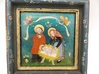 Antique Nativity Picture Folk Art Foil Hand Painted Frame Made in Germany