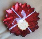 4 Artistic Accents Turkish HOLIDAY RED Poinsettia Glass Salad Dessert Plates NWT