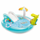 Intex 57165EP Gator Outdoor Inflatable Kiddie Pool Water Play Center with Slide