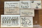 Stampin Up MIRACLE OF EASTER Retired Rubber Stamp of 6 Bunny Flowers Words
