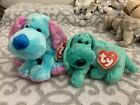TY Beanie Babies: DIDDLEY the Green Dog & KOOKIE the Circus Blue Dog! MWMT!