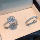 2ps set Princess White Sapphire 925 Silver Rings Set Bride Wedding Jewelry Gifts