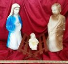 VINTAGE NATIVITY SCENE TALL PLASTIC 4 PIECES