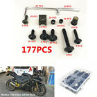 177Pcs Black Motorcycle Fairing Bolts Kit Fastener Clips Screw with Plastic Box