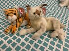 TY Beanie Babies: TRACKS the Lynx & INDIA the Tiger Wild Cats! MWMT!