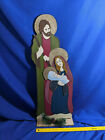 LARGE Wooden Nativity Scene Sign Yard Decor VTG Joseph Mary Baby Jesus Stand Up