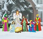 7 Pc Outdoor Christmas Nativity Set Scene Yard Stakes w Wise Men Holiday Decor