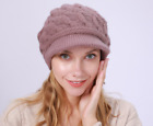 Women Winter Knitted Beanie Stretchy Warm Hats Thick Warm Caps Light Purple