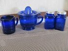 Vintage Cobalt Blue Measuring And Mixing Cup With Juicer Top 8 oz measuring cup