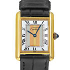 Cartier 590005 Vermeil Must De Tank Tri Gold Quartz Watch White Yellow Rose