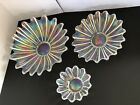 Federal Glass Vintage Iridescent Flower Petal Set of Three Bowls