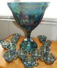 Indiana Glass Blue Harvest Grape Leaf Carnival Glass Punch Bowl Set w Pedestal