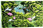 LARGE ARTIST SIGNED TROPICAL BIRD FLOWER PAINTED CLOTHE CANVAS TEXTILE PICTURE