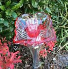 Handpainted Red  Clear Four Petal Glass Garden Totem Repurposed Yard Decoration
