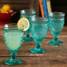 The Pioneer Woman Adeline Embossed 12 Ounce Footed Glass Goblets Set of 4