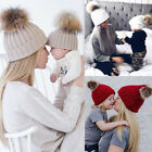 Cute Mother Baby Knitting Pom Bobble Hat Winter Warm Beanie Knitted Matching Cap