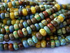 1 17 Strand 4 0 Czech Seed Beads Bermuda Striped Aged Picasso 510