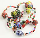 30 VINTAGE Jewelry CHUNKY MURANO MILLEFIORI ART GLASS  TRADE BEAD NECKLACE