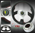 320mm Black Silver Racing Steering Wheel + Polished Thin Quick Release +Jdm Horn