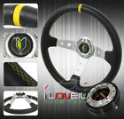 350mm Jdm Light Aluminum Body 3 Spoke Steering Wheel W/ Slim Quick Release Black