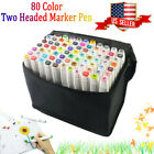 80 Color Set Anime Marker Pen Graphic Art Twin Tip Drawing Broad Fine Point Dry