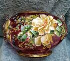 Fabulous Victorian glass cranberry enameled 8 Brides bowl roses and applied