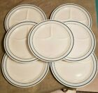 7 vintage Fire King 350 Teal Restaurant Ware Divided Grill Plate Anchor Hocking