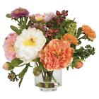 Peony Silk Arrangement 10 high in glass vase with liquid illusion looks so real