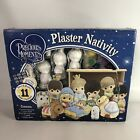 Precious Moments Paintable Plaster Nativity set 11 Figurines by Colorbok 2013