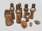 Vintage Tonala Nativity Set 10 Pieces Burnished Mexican Folk Art 6