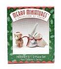 RARE 1997 NEW HERSHEY'S COLLECTOR MERRY MINIATURES MOUSE 2 PIECE ORNAMENT SET