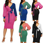 US Sexy Womens V-neck Long Sleeve Patchwork Bodycon Party Cocktail Pencil Dress