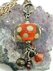 Vintage Sterling Silver Orange Glass Polka Dot Thick Chain Necklace 165