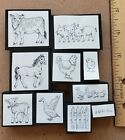 Rubber Stamp Foam Mounted Farm Animals Horse Cow Duck Chicken Pig Lamb Fence