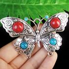 F81997 Carved Tibetan Silver  Turquoise Butterfly Pendant Bead 78x51x8mm