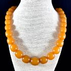 Vintage 60s Baltic Amber Necklace Graduated Oval Honey Butterscotch Beads 81 gm