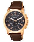 Fossil Watch Men Chronograph Blue Dial Stainless Steel Case Leather Water Resist