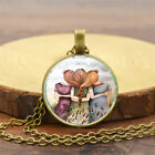 Three Sisters Best Friends Photo Cabochon Glass Bronze Chain Necklace Vintage