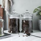 Kitchen Bathroom Storage Glass Apothecary Container Jar Canister Set of 2