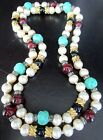 Very High Quality Mogul Glass Bead  Pearl Vintage Sautoir Necklace