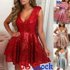 US Sexy Women Sequins V Neck Mini Dress Ladies Cocktail Party Prom Skater Dress