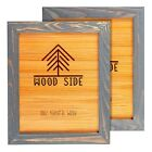 Rustic Wooden Picture Frames Natural Solid Eco Wood Wall and Tabletop Grey