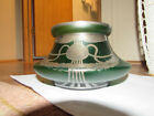 Antique Beautiful Green Art Glass Bowl With Silver Decorations Possibly Loetz