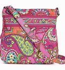 NWT VERA BRADLEY PINK SWIRLS ICONIC TRIPLE ZIP HIPSTER COTTON PATTERN INTERIOR