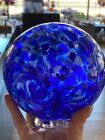 STUNNING COBALT BLUE MOSAIC SPOTTED OCEAN WAVE BLOWN GLASS 5 1 4 INCH FLOAT